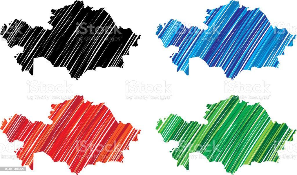 Kazakhstan Scribble vector art illustration