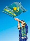 Kazakhstan Waving Flag Soccer Fan