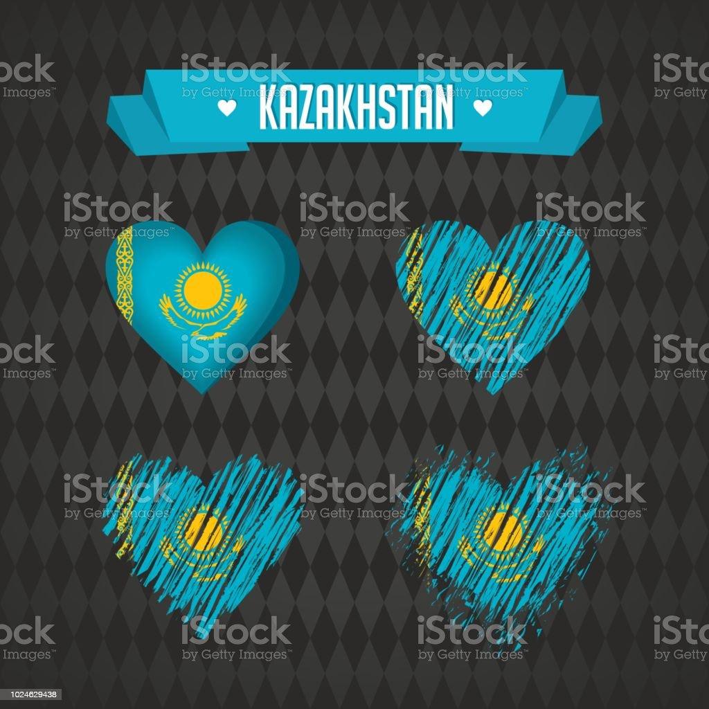 Kazakhstan with love. Design vector broken heart with flag inside. vector art illustration