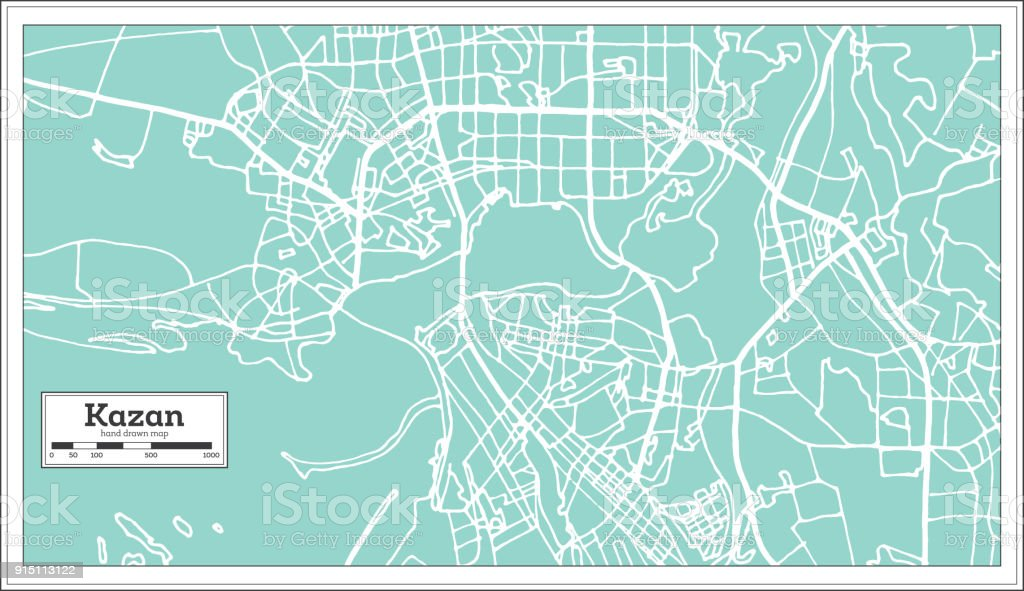 Kazan Russia City Map In Retro Style Outline Map Stock Vector Art