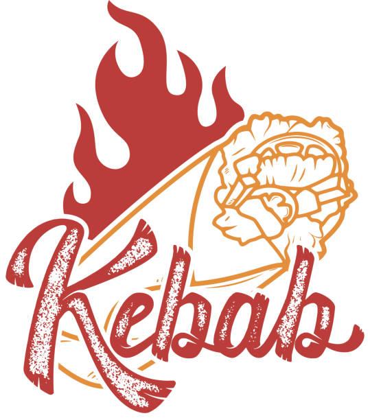 kebab. handschriftliche schriftzug aufkleber, abzeichen. emblem für fastfood-restaurant, café. isoliert auf weißem hintergrund. vektor-illustration. - döner stock-grafiken, -clipart, -cartoons und -symbole