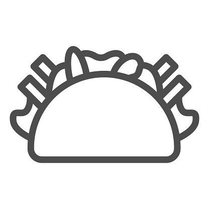 Kebab line icon, Street food concept, Burrito sign on white background, Doner kebab icon in outline style for mobile concept and web design. Vector graphics.