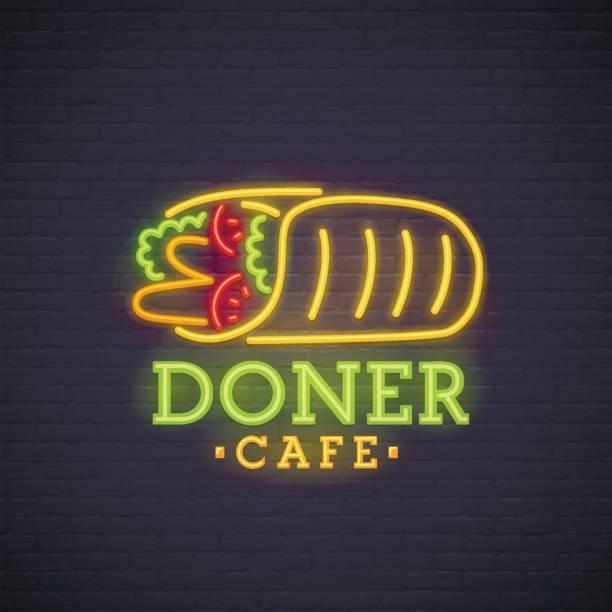 kebab neon sign, hellen schild licht banner. döner-symbol, emblem - döner stock-grafiken, -clipart, -cartoons und -symbole