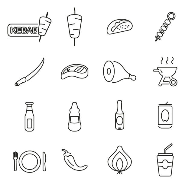 kebab oder fast-food-icons dünne linie vektor illustration-set - döner stock-grafiken, -clipart, -cartoons und -symbole