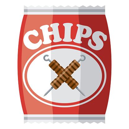 Kebab Potato Chip Icon on Transparent Background