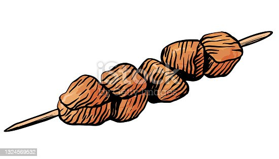 istock Kebab, shashlik, meat on a wooden skewer. Hand drawn vector illustration in engraving style 1324569532