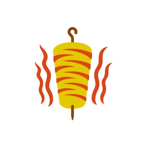 kebab-symbol. döner kebab nationalen türkischen fleisch food-mahlzeit. fleisch-sp - döner stock-grafiken, -clipart, -cartoons und -symbole