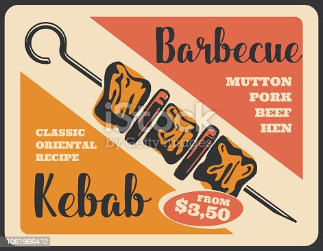 Kebab barbecue retro poster, grilled meat on skewer. Shish kebab with beef, pork and vegetables. Bbq restaurant menu and turkish cuisine meat dish
