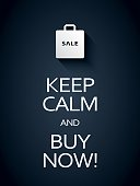 Keep calm and buy now sale poster template with shopping