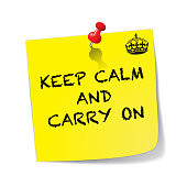 Keep Calm And Carry On Sticky Note With Pin