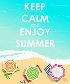 Keep Calm and Enjoy Summer Creative Poster Concept. Card of Invi