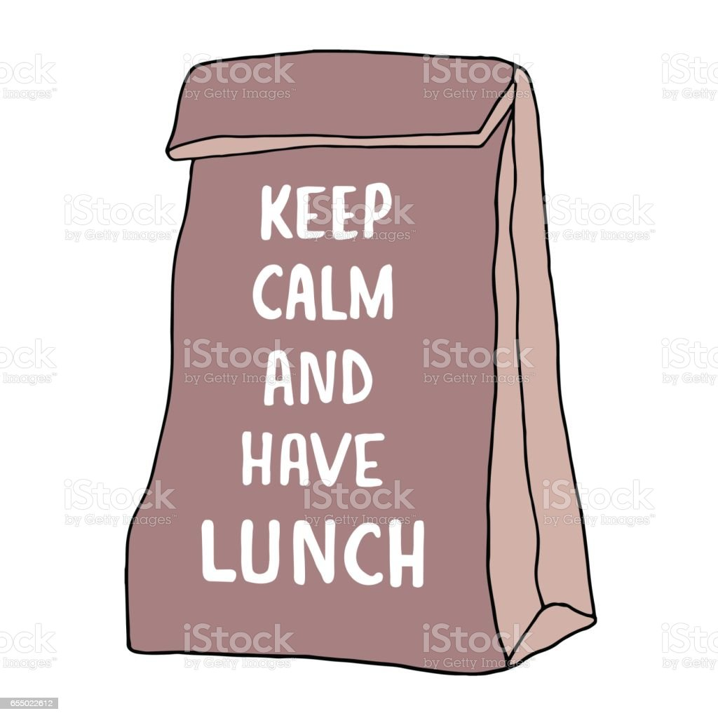 Keep Calm and have lunch illustration. Lunch bag vector art illustration