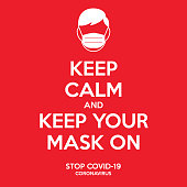 Keep calm and keep your mask on sign.  Instruction to prevent yourself from Coronavirus illustration. A man with the face mask on icon. Against covid-19 campaigne.