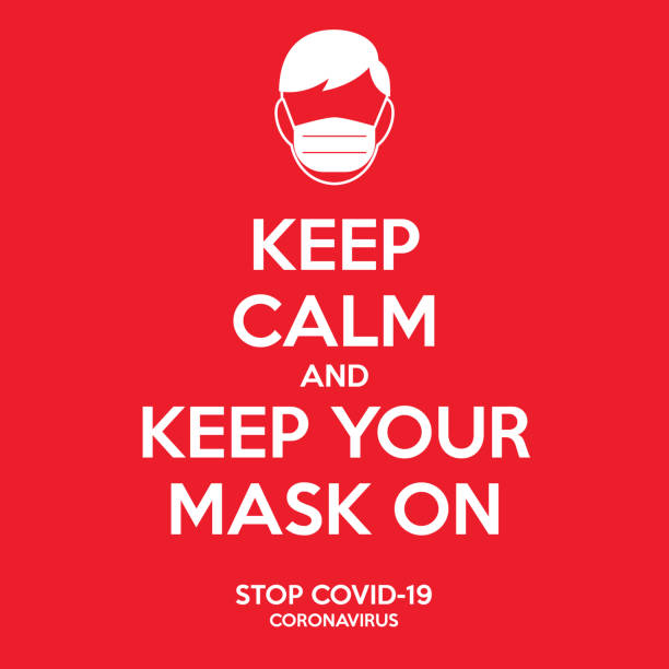 ilustrações, clipart, desenhos animados e ícones de mantenha a calma e mantenha sua máscara no sinal.  instrução para evitar a ilustração do coronavirus. um homem com a máscara facial no ícone. contra a campanha do covid-19. - harmonia