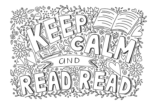 Keep calm and read a book inspirational motivational quote with pattern, hand drawn doodle sketch style vector illustration