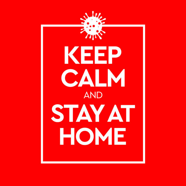 ilustraciones, imágenes clip art, dibujos animados e iconos de stock de mantenga la calma y quédese en casa. virus novel coronavirus (2019-ncov) y cuarentena domiciliaria. ilustración vectorial - stay home