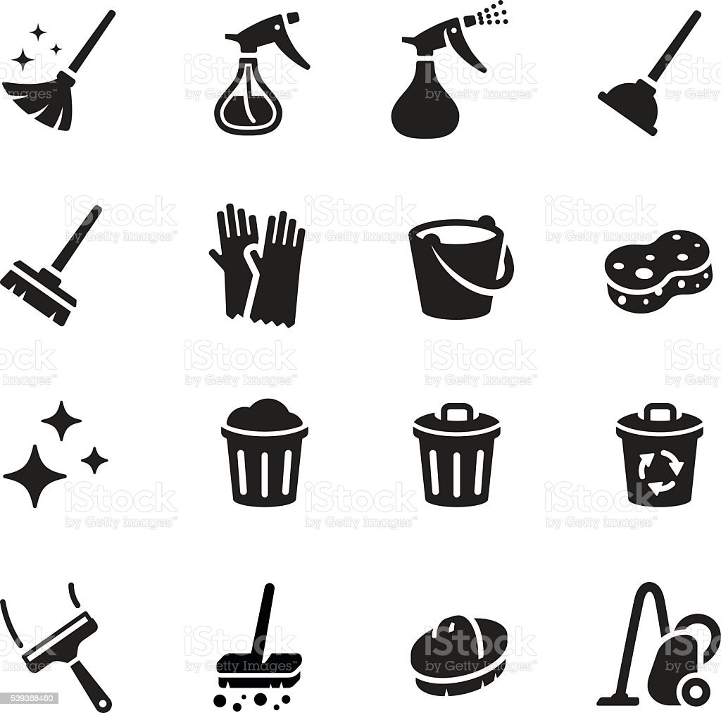 Keep Clean Vector Icon Set vector art illustration