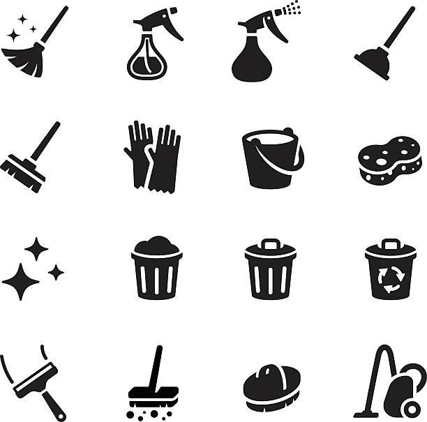 stockillustraties, clipart, cartoons en iconen met keep clean vector icon set - emmer