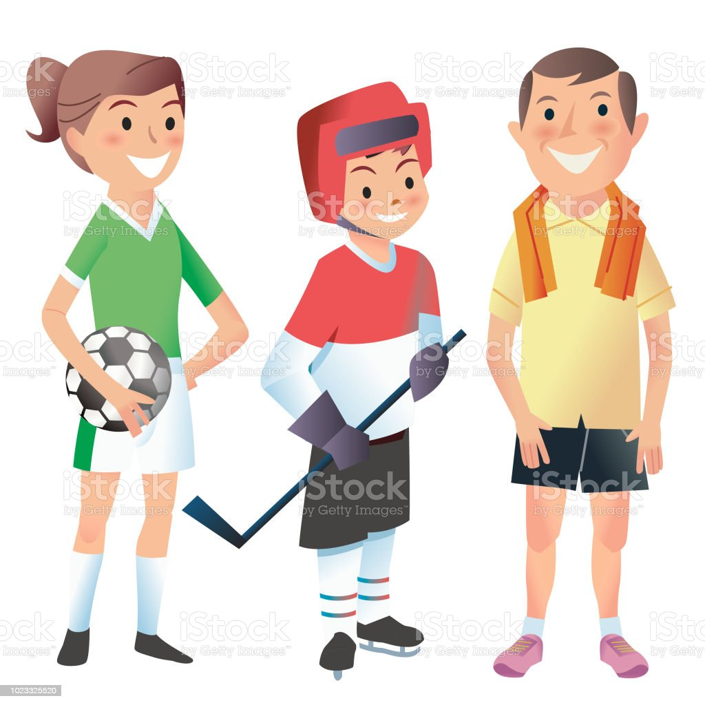 Keep fit family vector art illustration