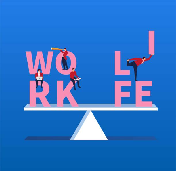 ilustraciones, imágenes clip art, dibujos animados e iconos de stock de mantener la vida y de trabajo equilibrada - work life balance