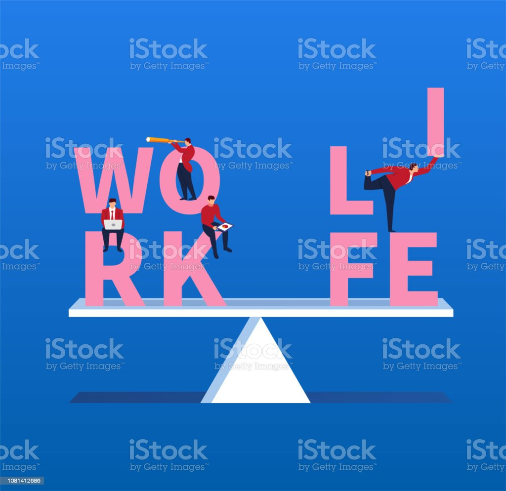 Keep life and work balanced vector art illustration