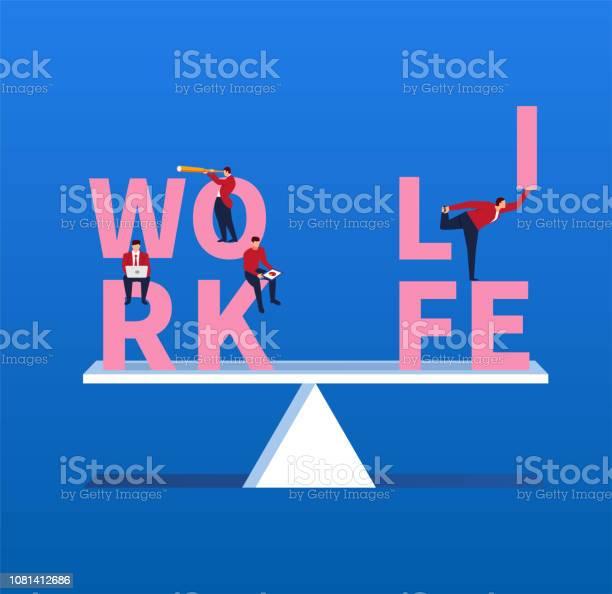 Houden Van Leven En Werken Van Evenwichtige Stockvectorkunst en meer beelden van Aan het werk