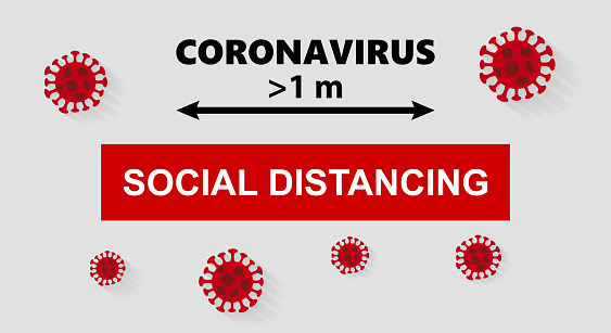 Keep maintenance social distancing. Stop Corona virus disease 2019 pandemic COVID-19, 2019-nCoV. Concept of stop Novel coronavirus outbreak on planet