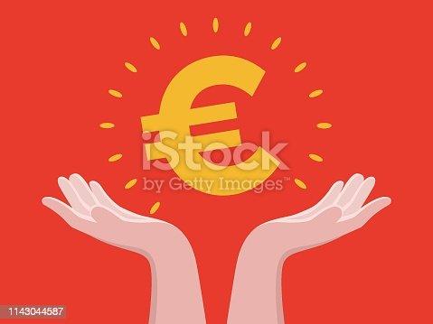 Human Hand, Euro Symbol, European Union Currency, Hand, Bank
