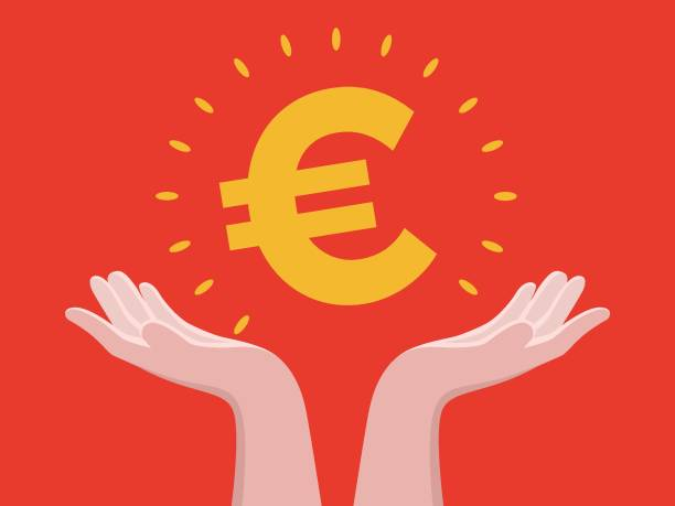 Keep on hand Euro Human Hand, Euro Symbol, European Union Currency, Hand, Bank euro symbol stock illustrations