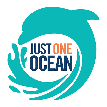Keep our oceans clean plastic. Just one ocean. Stop sea pollution flat icon vector stock illustration