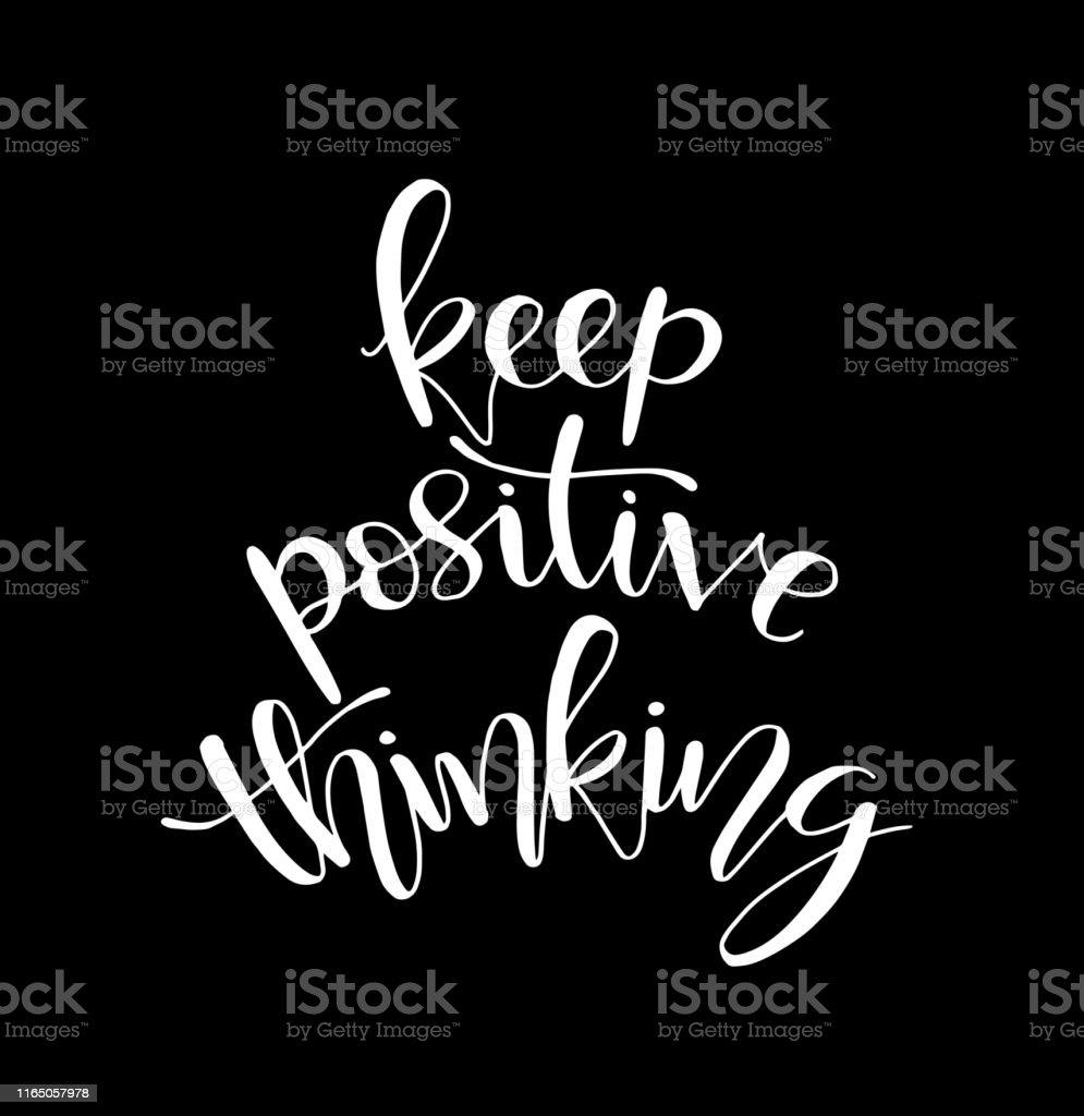 Houd Positief Denken Hand Belettering Motiverende Citaten