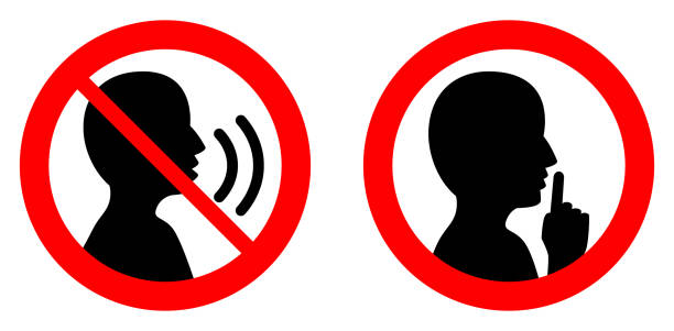 Keep quiet / silent please sign. Crossed person talking / Shhh icon in circle. vector art illustration