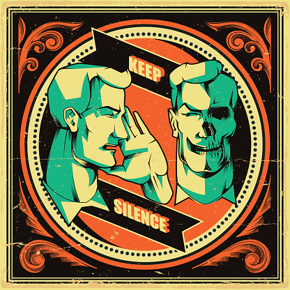 Keep Silence poster, be quiet symbol