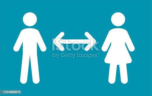 Keep the Distance. People icons. Coronavirus vector illustration