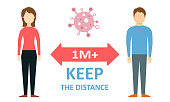 Keep the Distance - Social Distance Coronavirus COVID-19 Concept Vector Flat Illustration