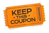 Admit one orange keep this coupon event ticket angled with space for copy.