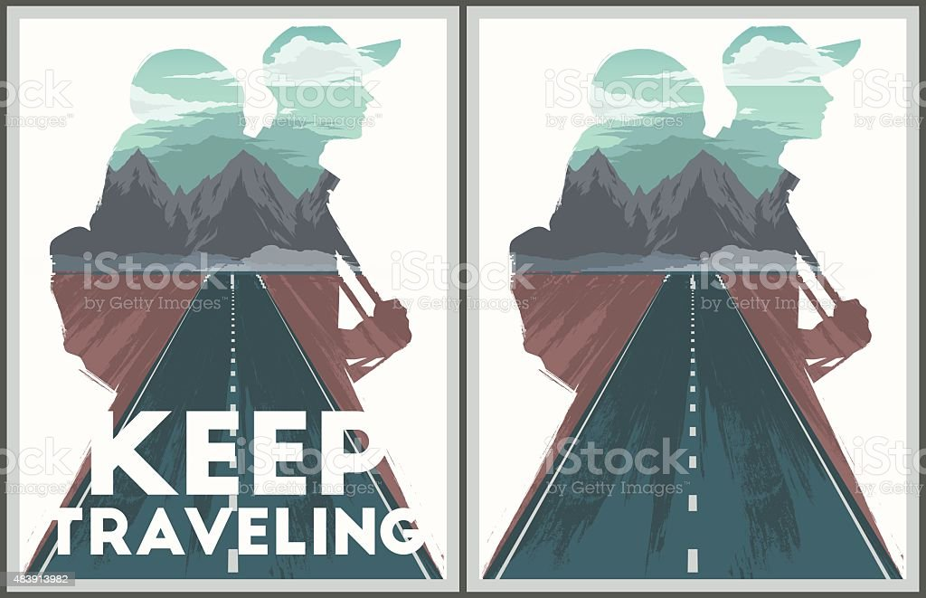 Keep traveling poster collection vector art illustration