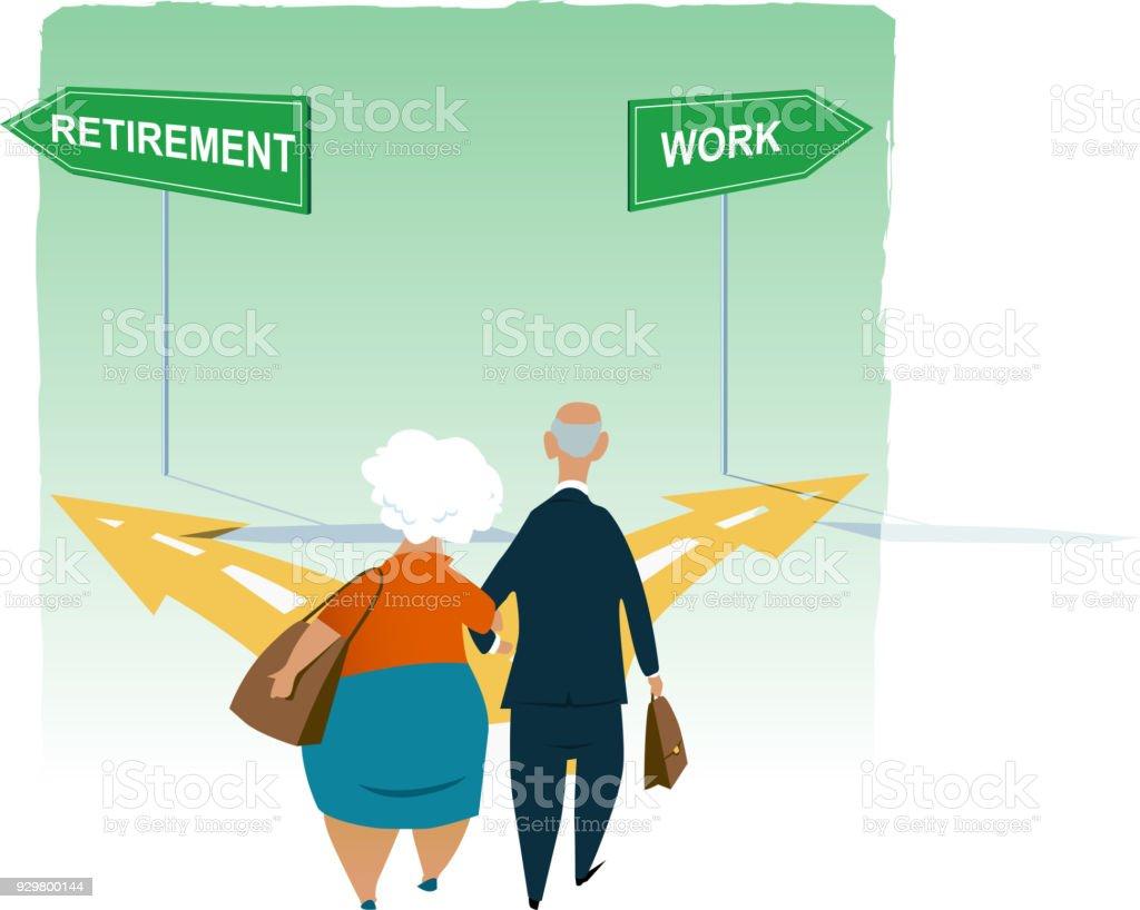 Keep working or retire vector art illustration