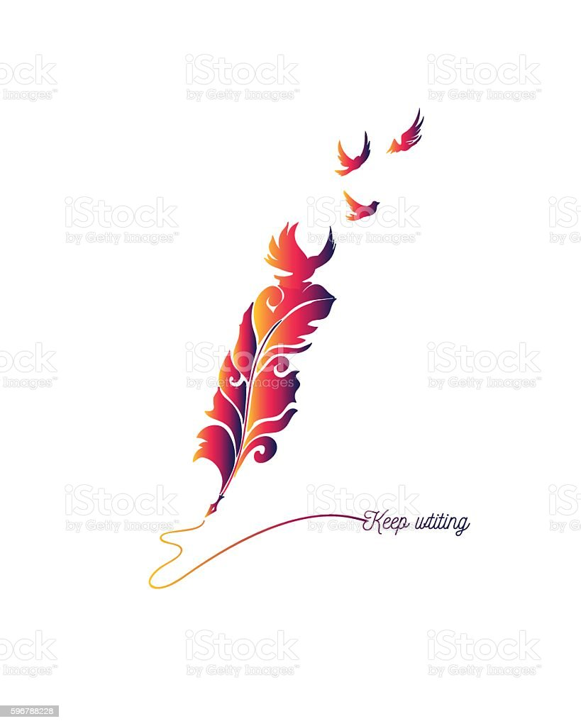 Keep writing quote made with feather vector art illustration