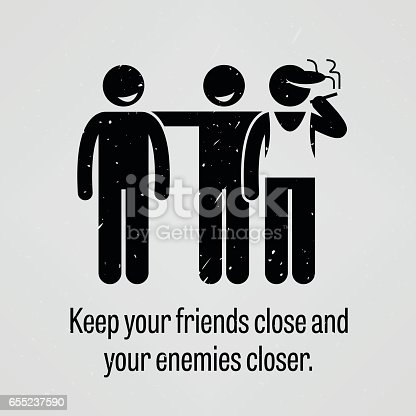 A motivational and inspirational poster representing the proverb sayings, Keep Your Friends Close and Your Enemies Closer with simple human pictogram.