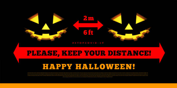 Keep your social distance. Halloween, pumpkins, vector illustration Keep your social distance. Halloween, pumpkins, vector illustration on black halloween covid stock illustrations