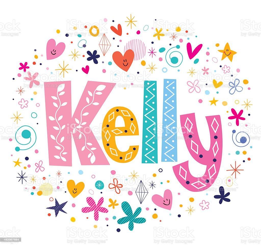 Kelly Female Name Decorative Lettering Type Design Stock ...