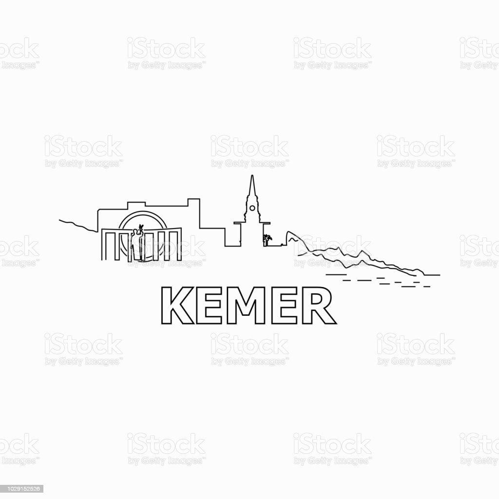 Kemer manzarası ve Simgesel siluet siyah vektör simgesi. Kemer panorama. Türkiye vektör sanat illüstrasyonu
