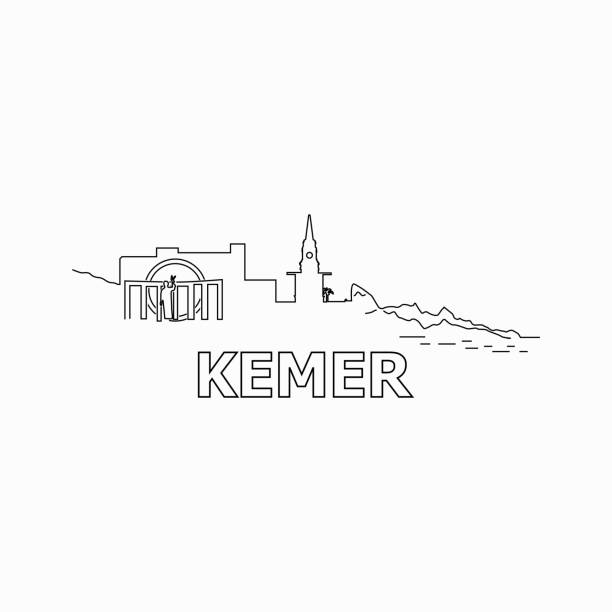 kemer skyline und wahrzeichen silhouette schwarz vektor icon. kemer-panorama. turkei - alanya stock-grafiken, -clipart, -cartoons und -symbole