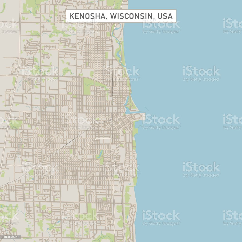 Kenosha Wisconsin Us City Street Map Stock Vector Art More Images