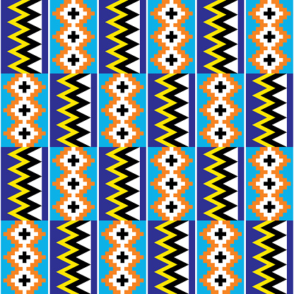 Kente African tribal vector design - traditional nwentoma textile or farbic print seamless pattern inspired by Ghana traditional cloths