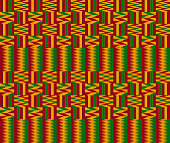 Kente ceremonial cloth pattern. African decorative textile background in yellow, green and red color.