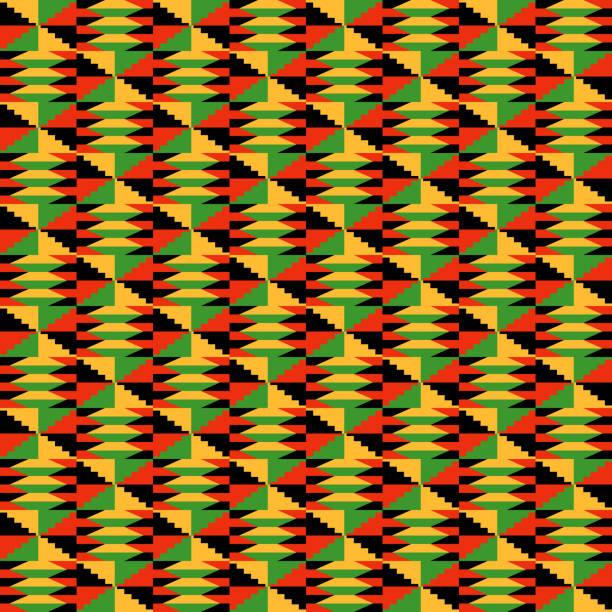kente cloth seamless pattern - kwanzaa stock illustrations