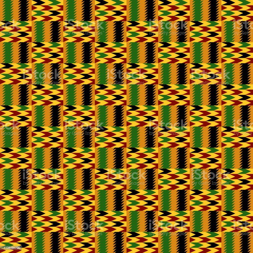 Kente Cloth Seamless Pattern vector art illustration
