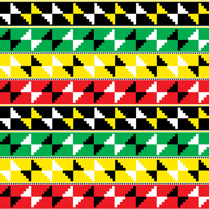 Kente nwentoma cloth style vector seamless pattern, retro design with geometric shapes inspired by African tribal fabrics or textiles from Ghana known as nwentoma - rasta colors